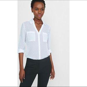 express | sheer chevron stripe portofino shirt